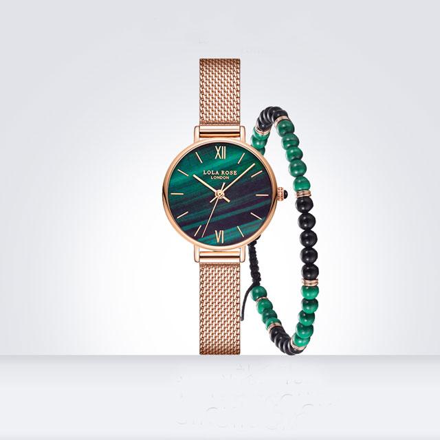 LolaRose 孔雀石纹手链手表套装