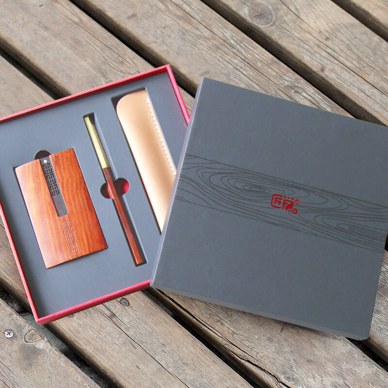 匠艺 八方木笔名片盒两件套 微凹黄檀笔+U盘名片盒