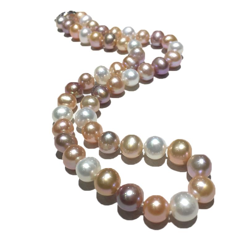 近圆强光天然淡水珍珠项链