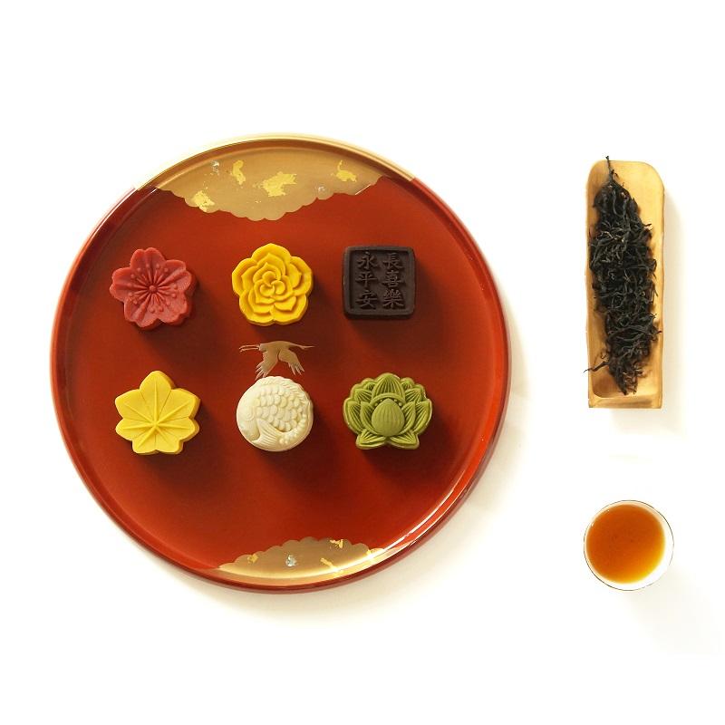 素直 茶叶月饼中秋礼盒 双层传统糕点 茶叶礼包