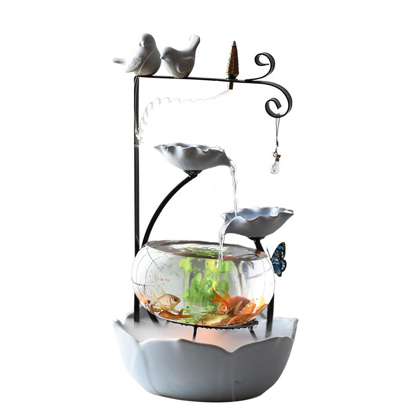 流水桌面鱼缸加湿摆件