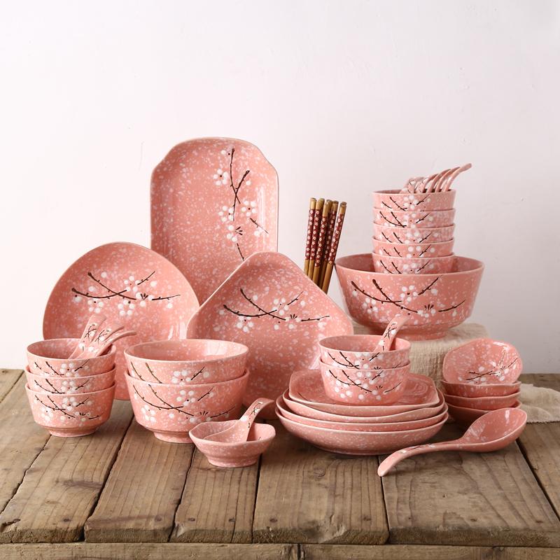 和风梅花46件日式碗碟套装