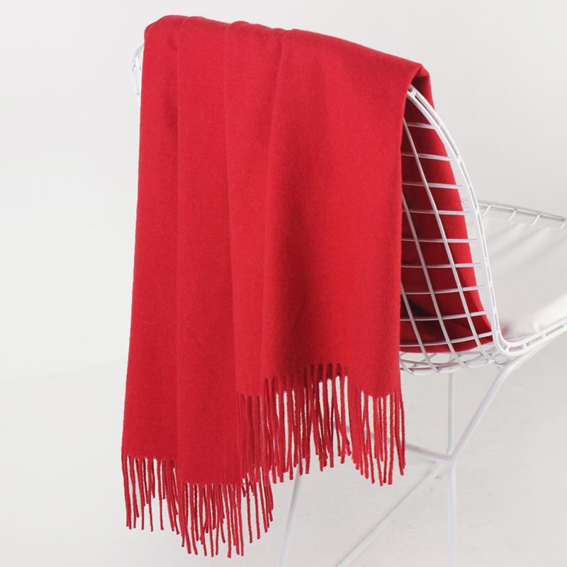 上海故事 百搭长款大红色加厚情侣羊毛围巾