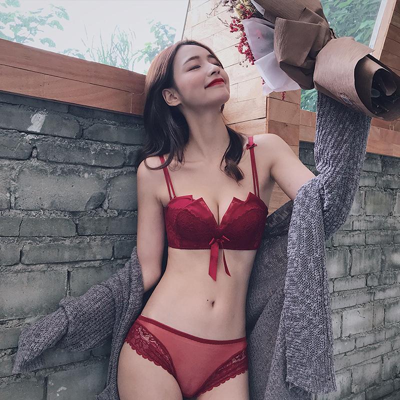 礼服杯无钢圈本命年红色文胸套装