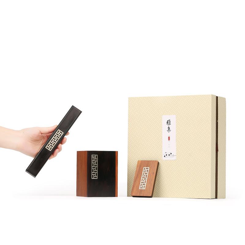红木苗银风雅笔筒名片盒套装 刻字定制 商务礼品