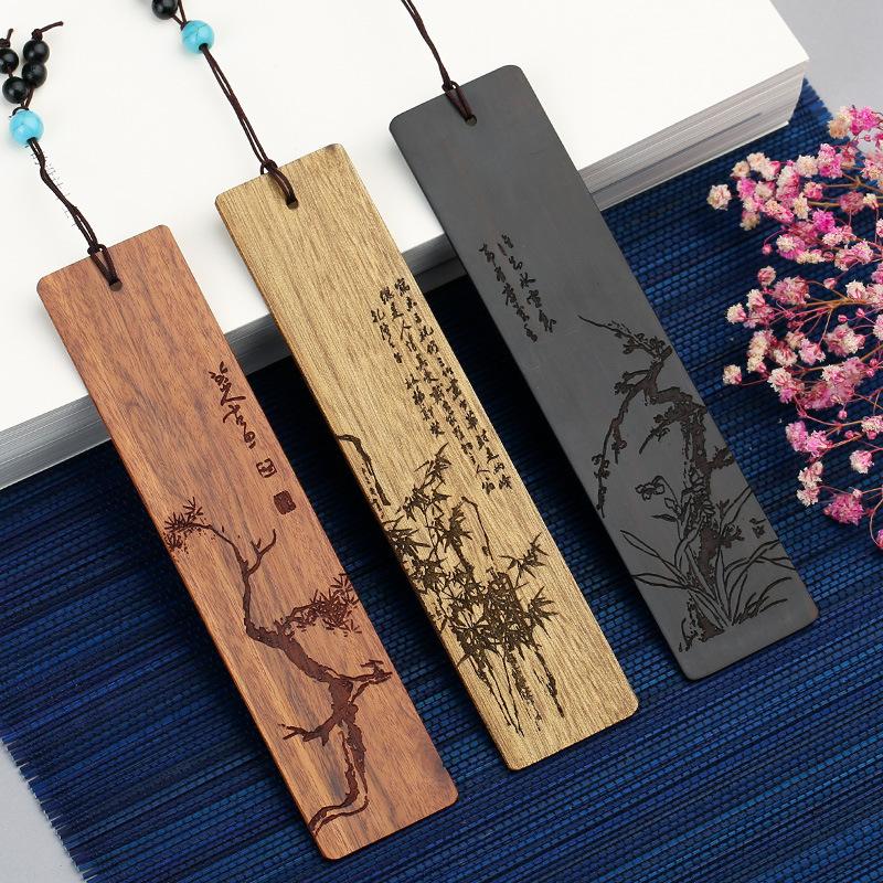 红木岁寒三友创意生日礼物古典中国风黑檀木质书签套装商务礼品 新春节日礼物