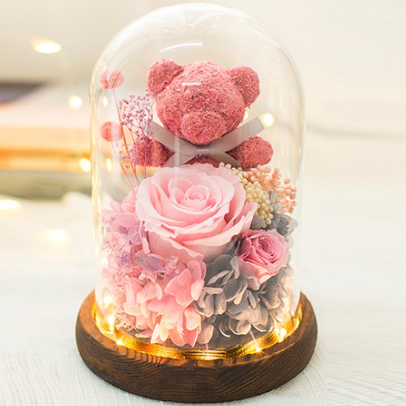 玻璃罩小熊永生花礼盒