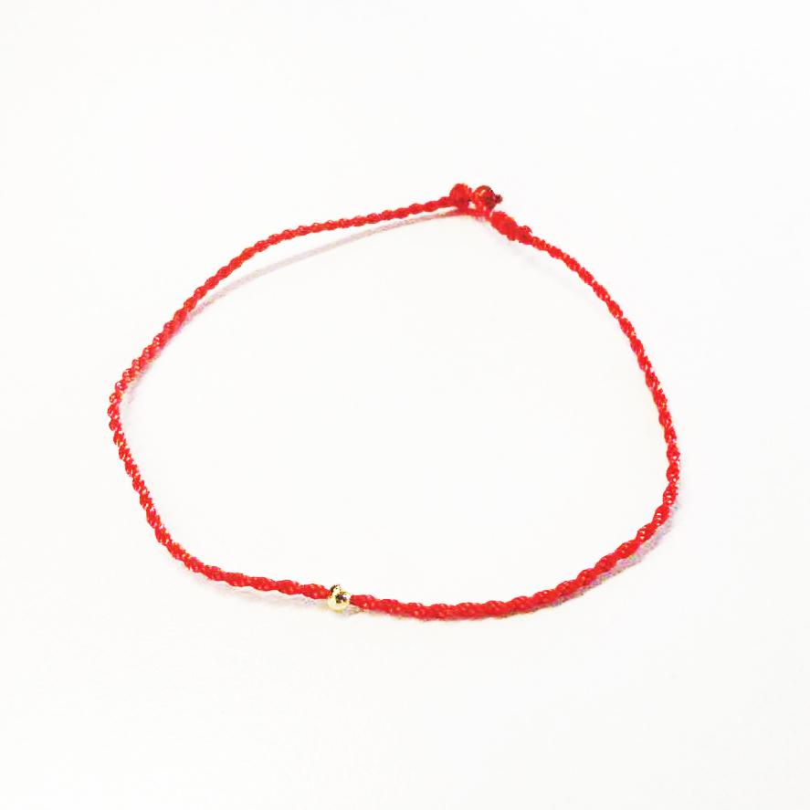 心意点点独家18K黄金转运珠细红绳手链