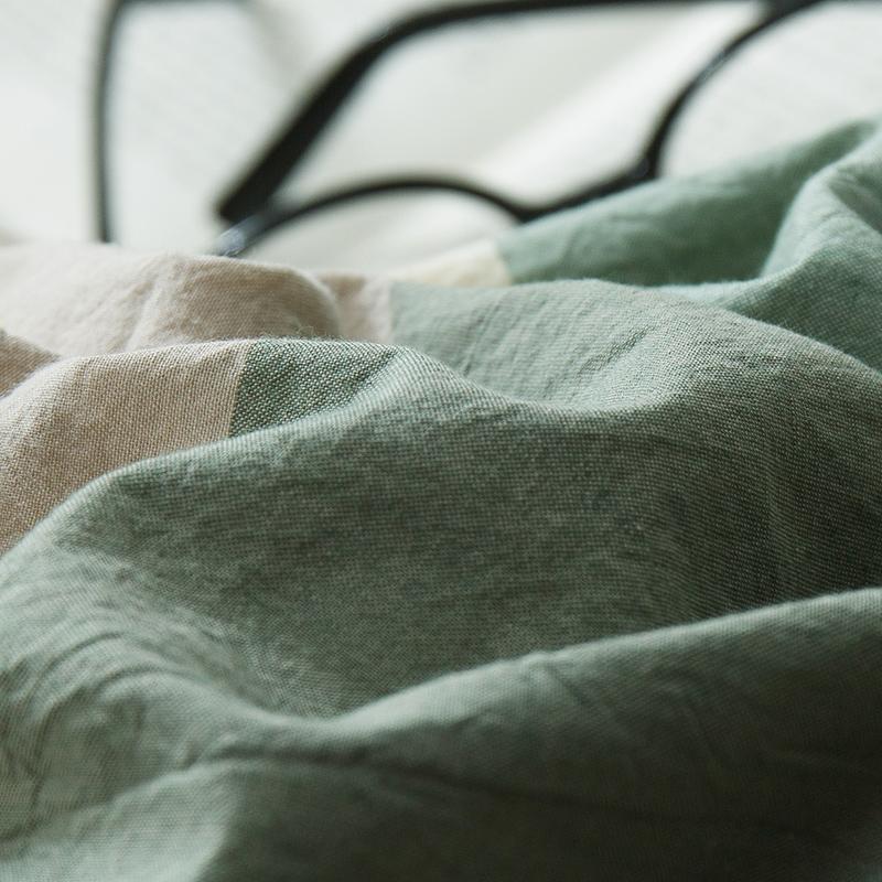纯棉日式简约条纹水洗棉四件套