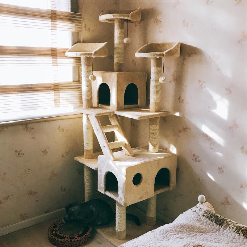 豪华实木多层猫爬架