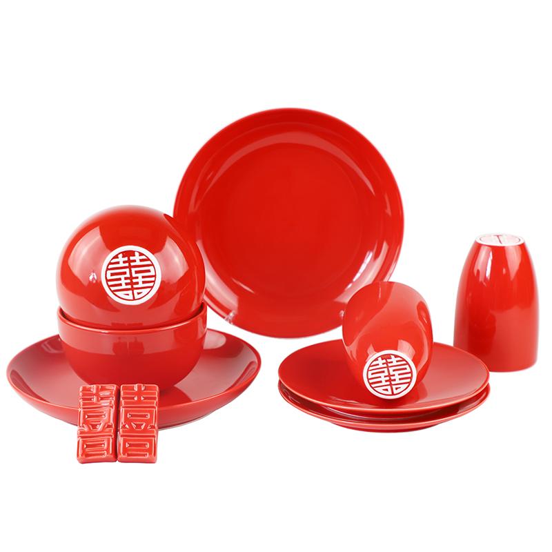 中国红双喜餐具套装