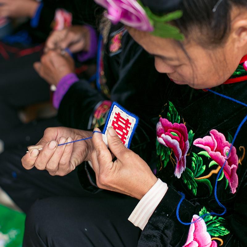 王的手创 红双喜字刺绣项链