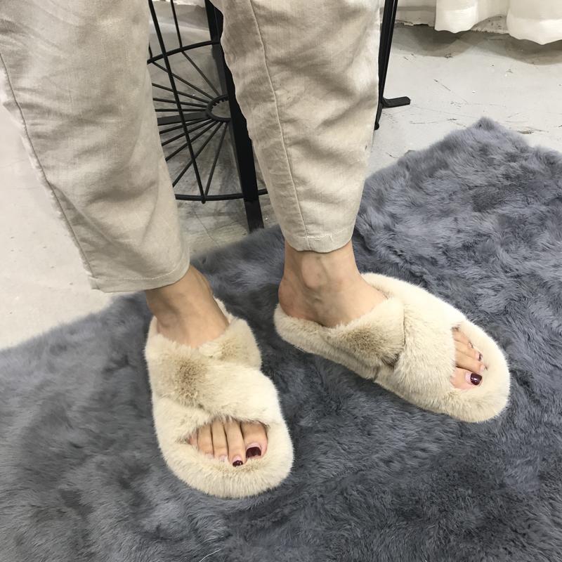 秋冬毛毛拖鞋 百搭chic交叉绑带