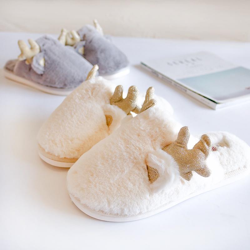 可爱鹿角毛毛拖鞋 每一天都是圣诞节