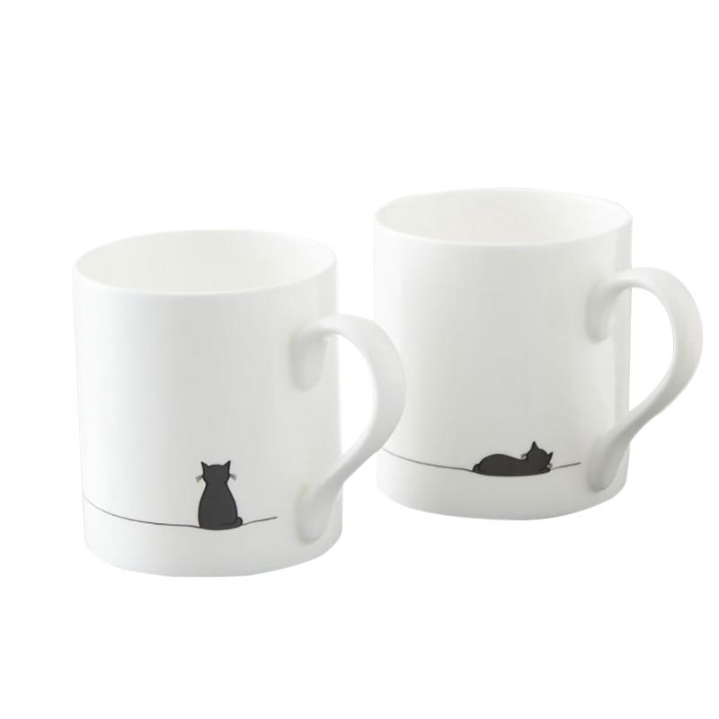 可爱猫狗简约情侣杯