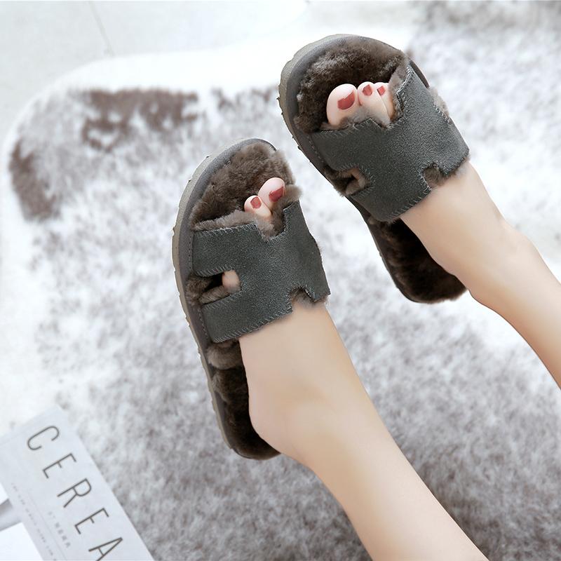 澳洲皮毛一体冬季防滑毛毛情侣棉拖鞋