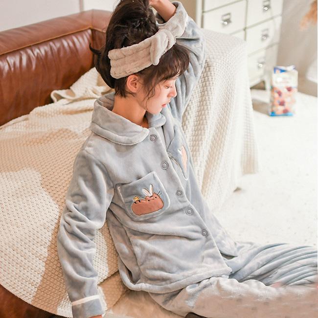 芬腾千线艺 可爱珊瑚绒睡衣套装
