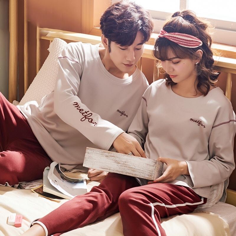 纯棉长袖 休闲运动 情侣睡衣