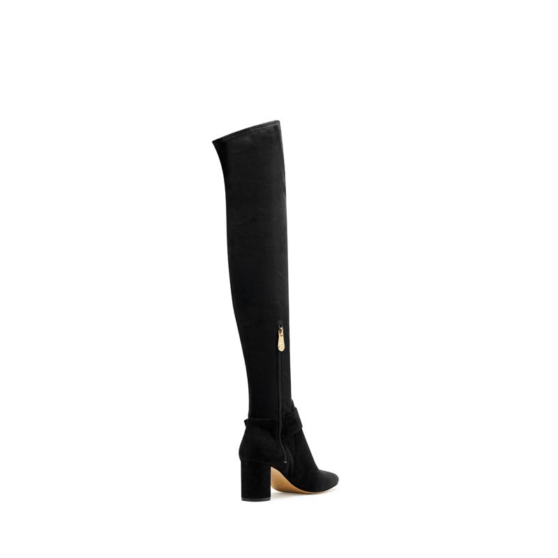 S by STELLA黑色优雅方扣粗跟过膝靴