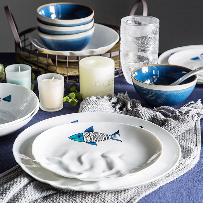 创意北欧陶瓷碗碟套装