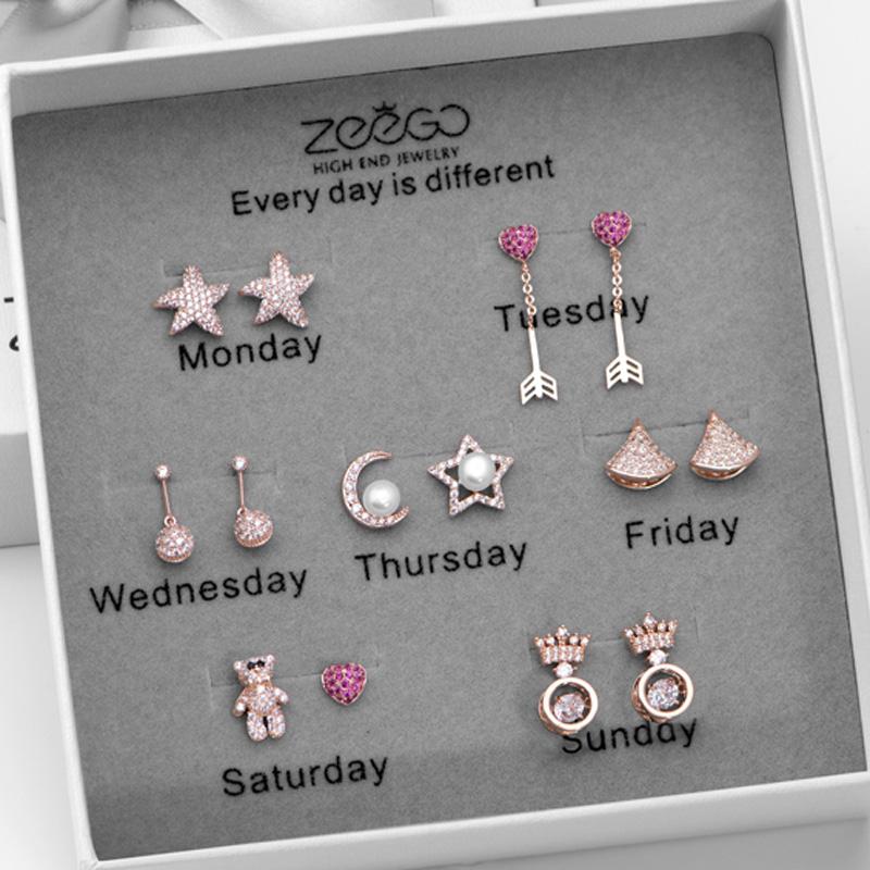 925银针一周星期耳钉