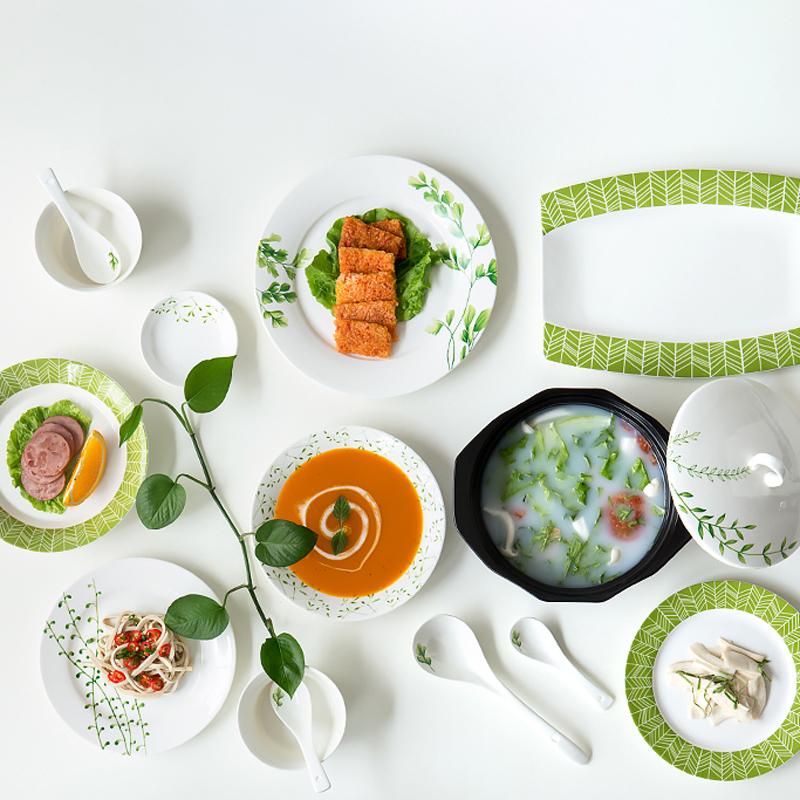 中式碗盘花卉春草陶瓷碗碟套装