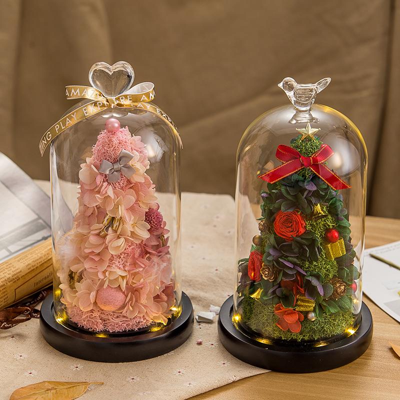 永生花玫瑰玻璃罩小熊圣诞树