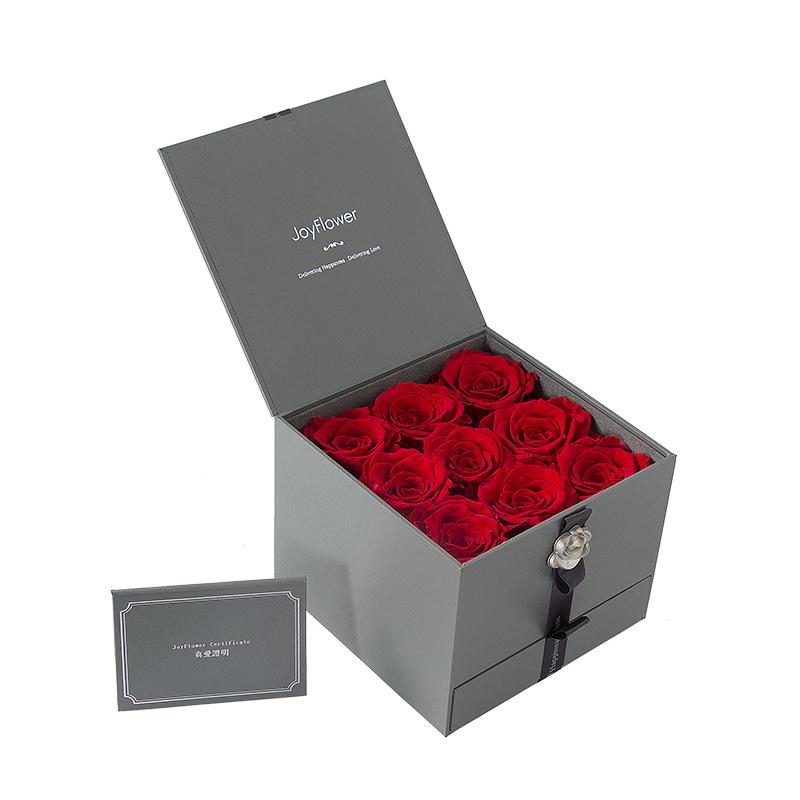 进口九朵永生花玫瑰礼盒
