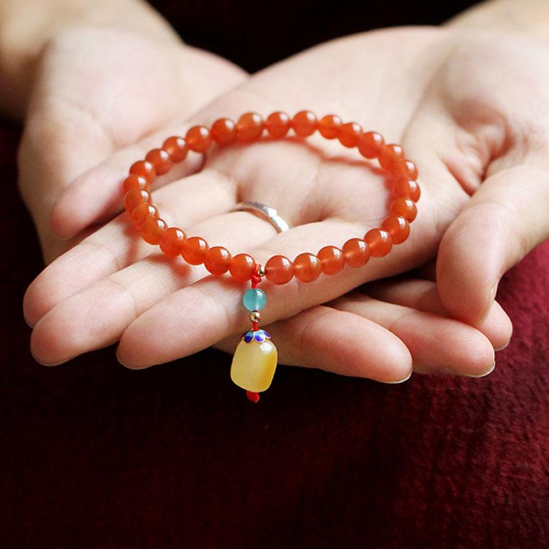 天然凉山樱桃红南红玛瑙手链