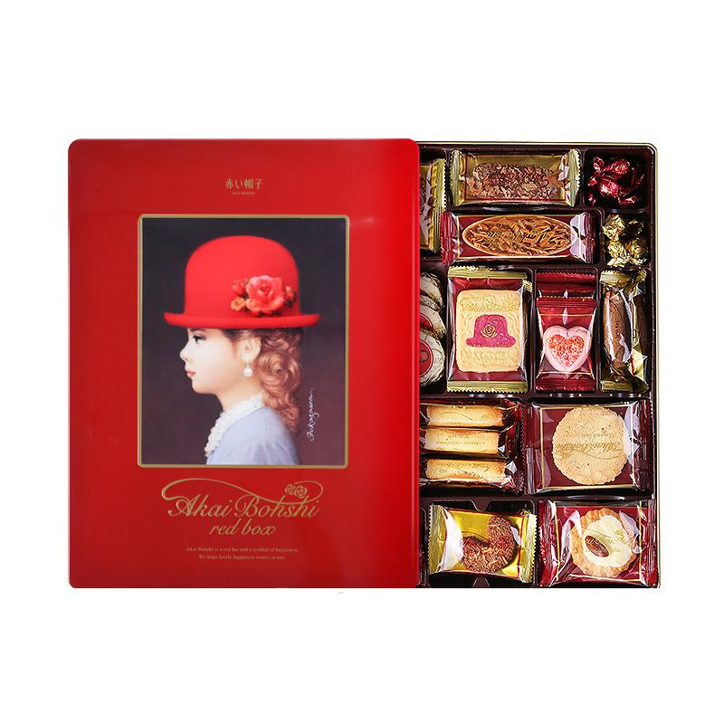 日本进口零食红帽子手工曲奇饼干礼盒装