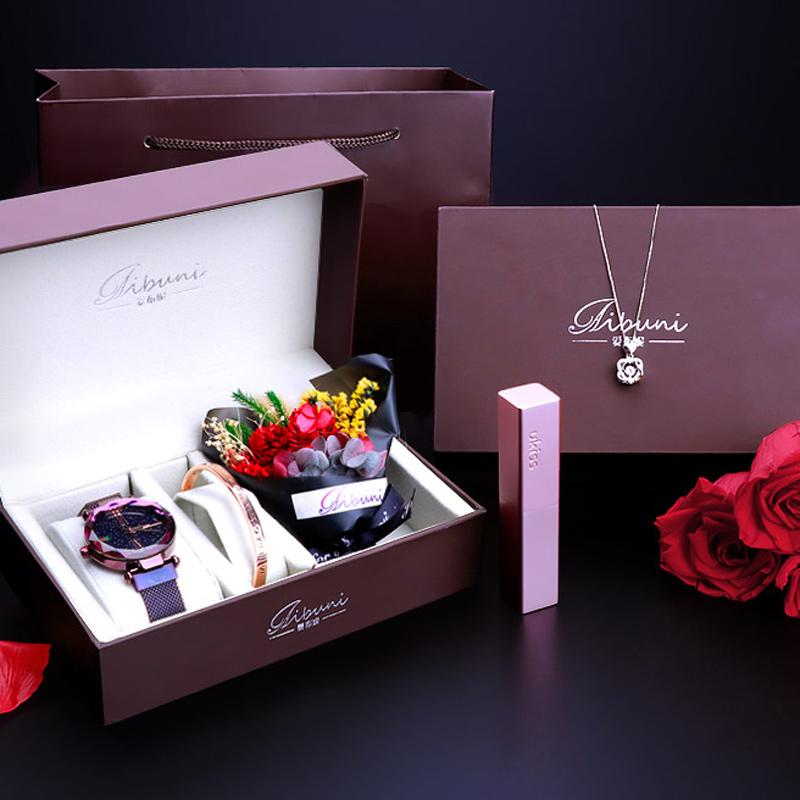 新款磁吸星空紫手表&手环&升级款花束 礼盒套装