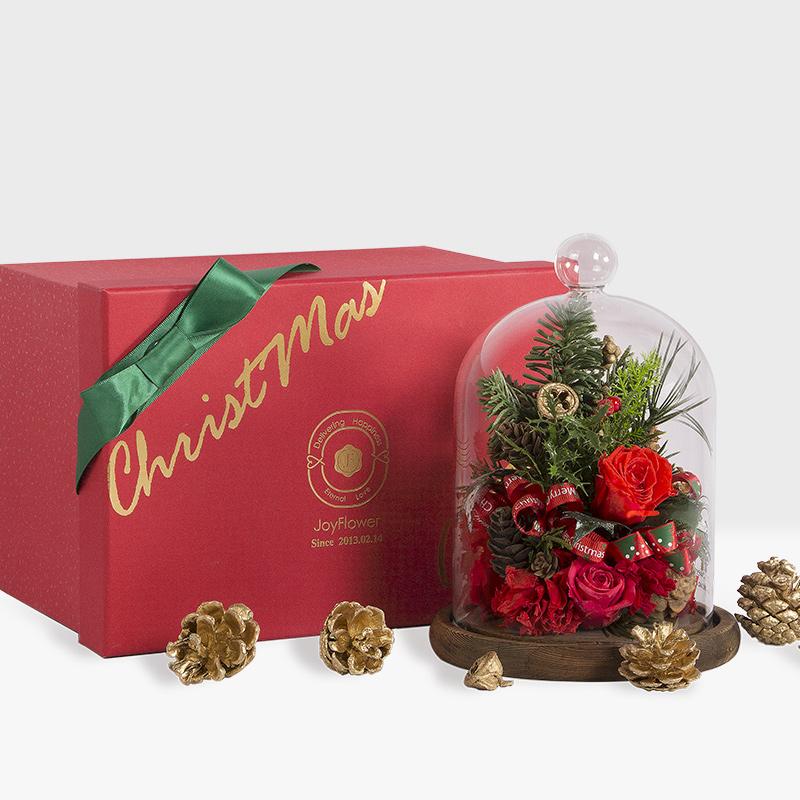 永生花圣诞树玻璃罩礼盒