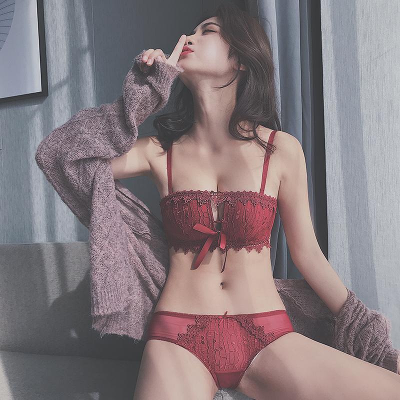 性感小胸本命年红色文胸套装