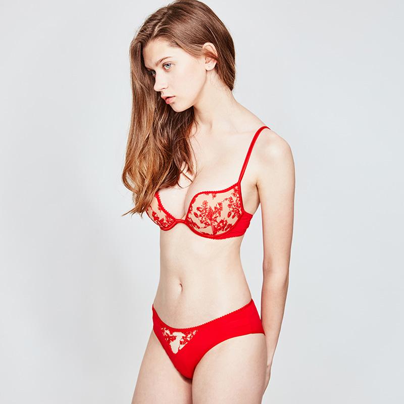 蕾丝刺绣薄款大红色本命年女士内衣套装