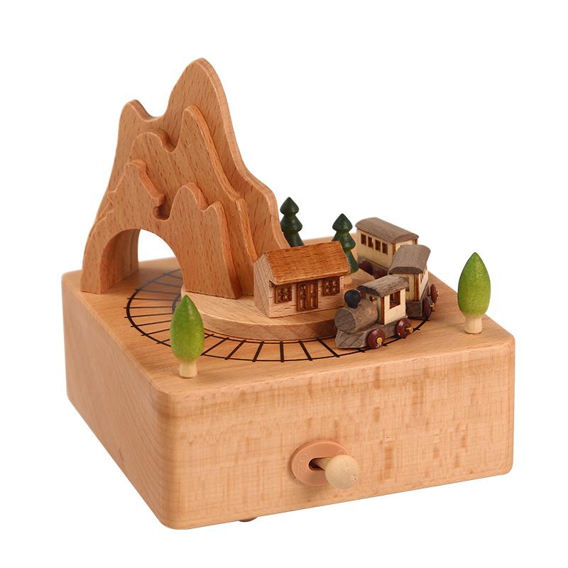 八音盒木质旋转木马音乐盒