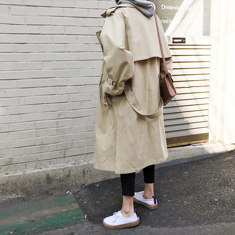 新款chic宽松学生过膝长款外套