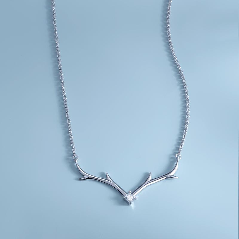 心上鹿银项链 森系锁骨链