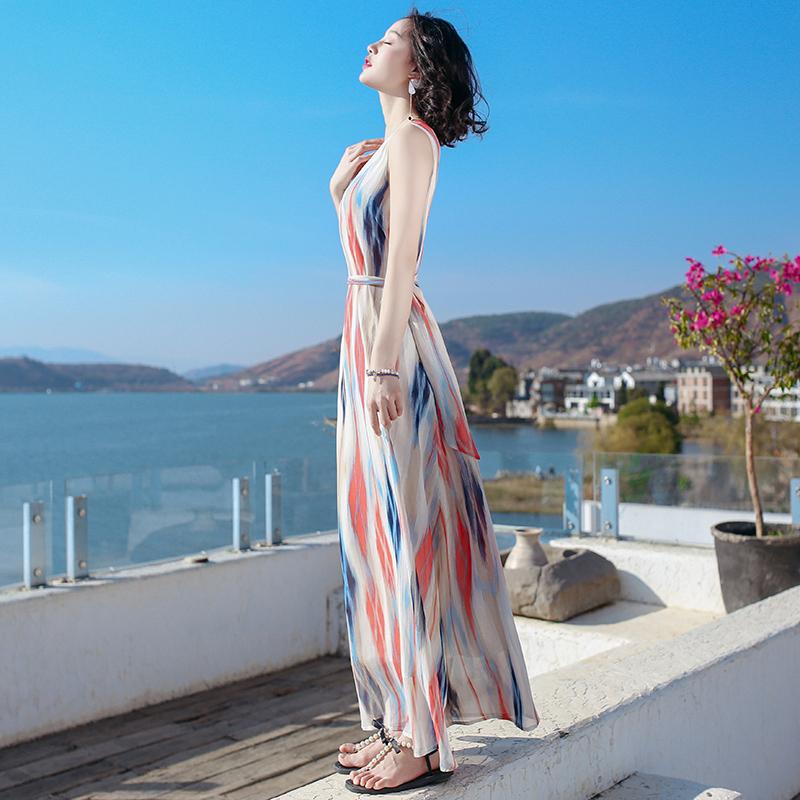 海边度假雪纺显瘦连衣裙