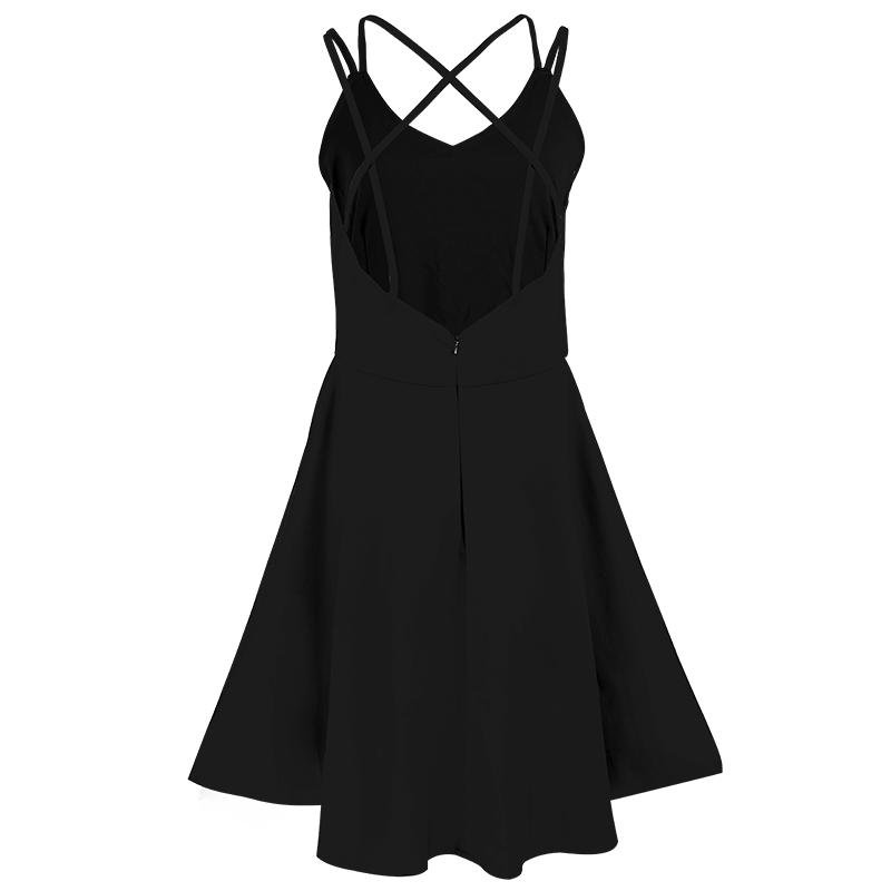 海边度假露背吊带黑色沙滩裙