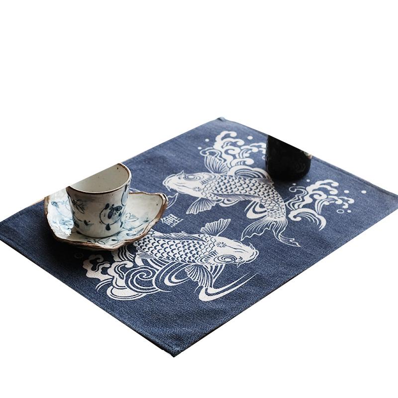 原创棉麻日式双鱼锦鲤隔热垫