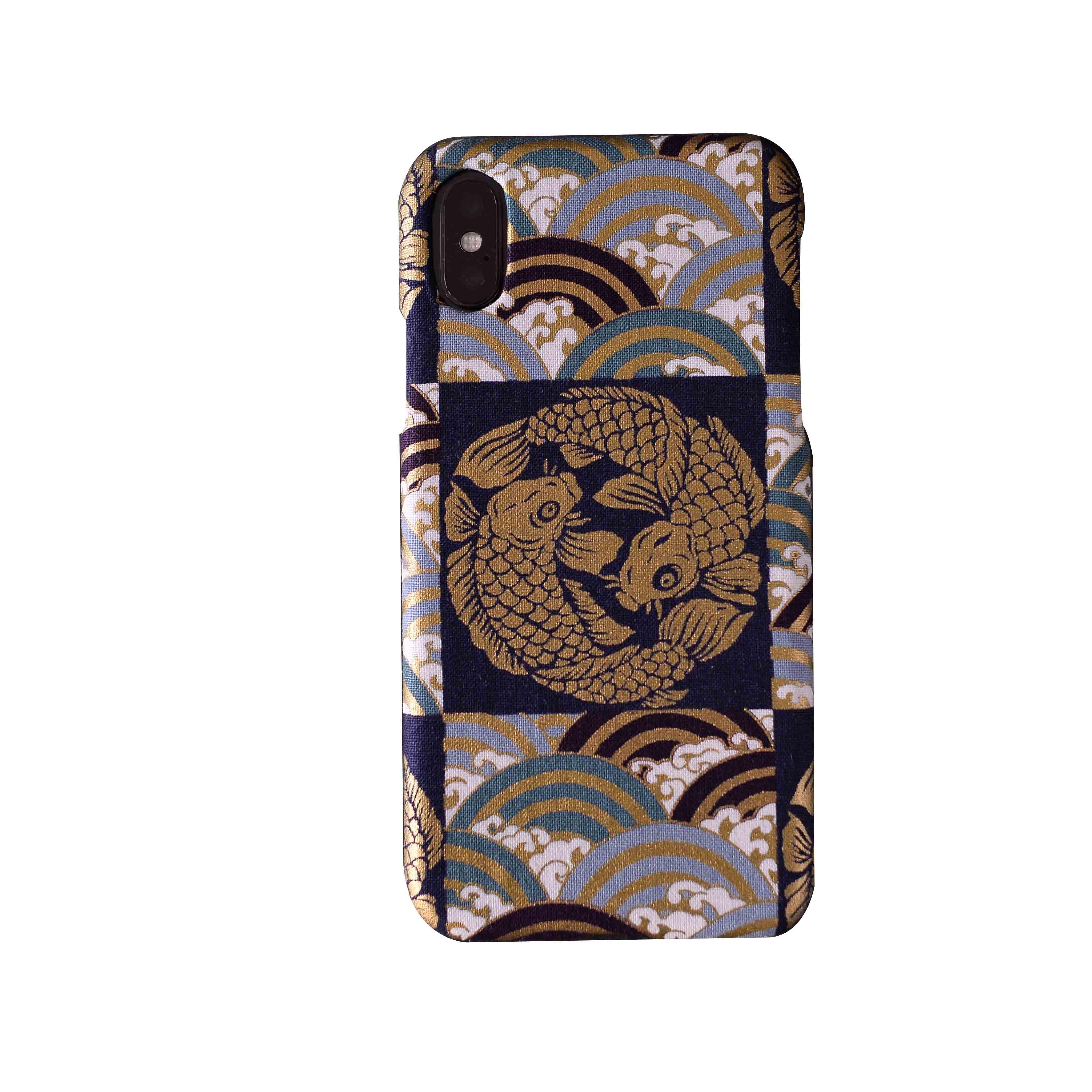 情侣双鱼锦鲤和风布艺手机壳