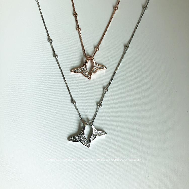 双鱼尾通体925纯银镶钻设计锁骨链