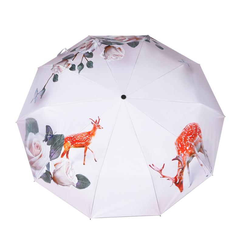 防风加厚黑胶防晒折叠小清新印花伞