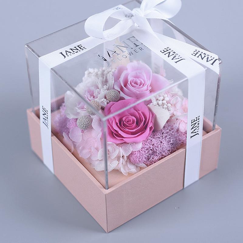告白粉晶永生玫瑰花盒