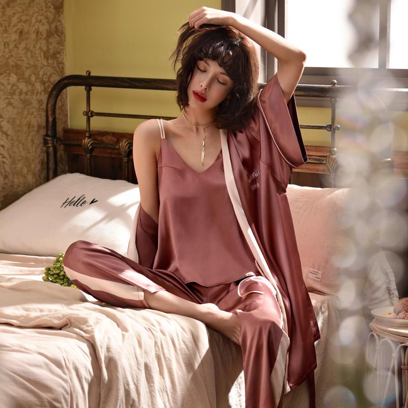 性感夏季薄款冰丝仿真丝绿色绸缎吊带三件套