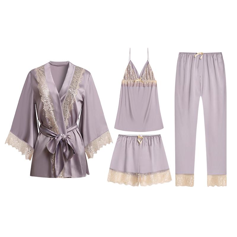 吊带蕾丝睡裙三件套