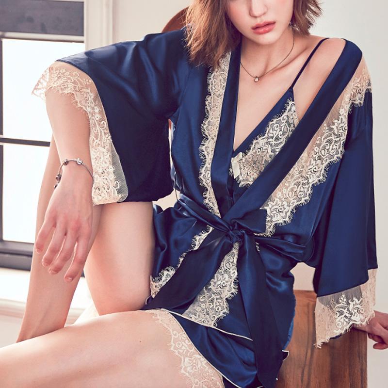 丝绸薄款吊带蕾丝三件套装家居服