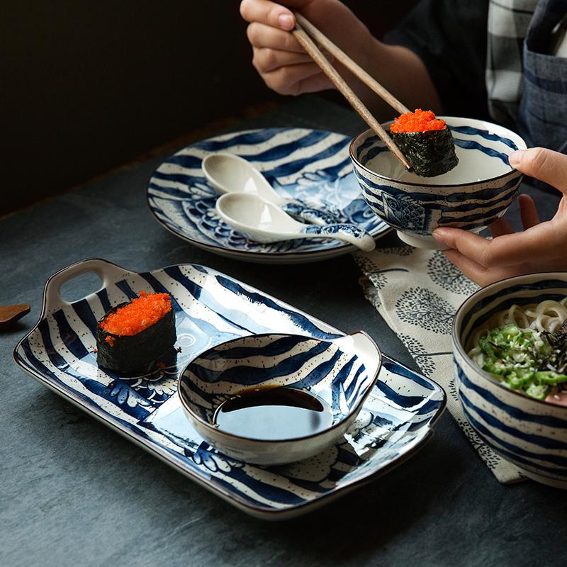 创意日式手绘鱼悦碗盘碟陶瓷礼盒