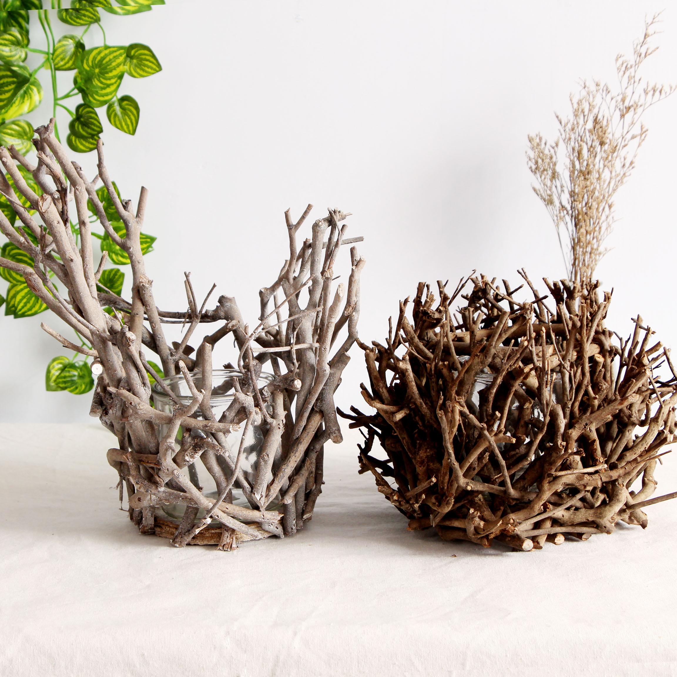 天然茶树枝定制烛台