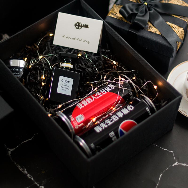 骑士黑麻布纹封边工艺礼物盒